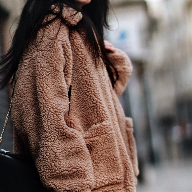 Sheing Peatling Fashion Warm Long Faux Cardigan Mujeres Chaqueta de mujer abrigo de piel de invierno peluche suelto suelto abrigo Casual Chaquetas 201208