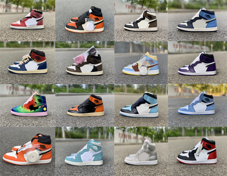 2021 Trophäe Raum Hyper Royal Travis Scott 1 High Og Schuhe Dark Mokka Universität Blue Union Black Toe Bred Bankte Sport Männer Frauen Outdoor Sneakers