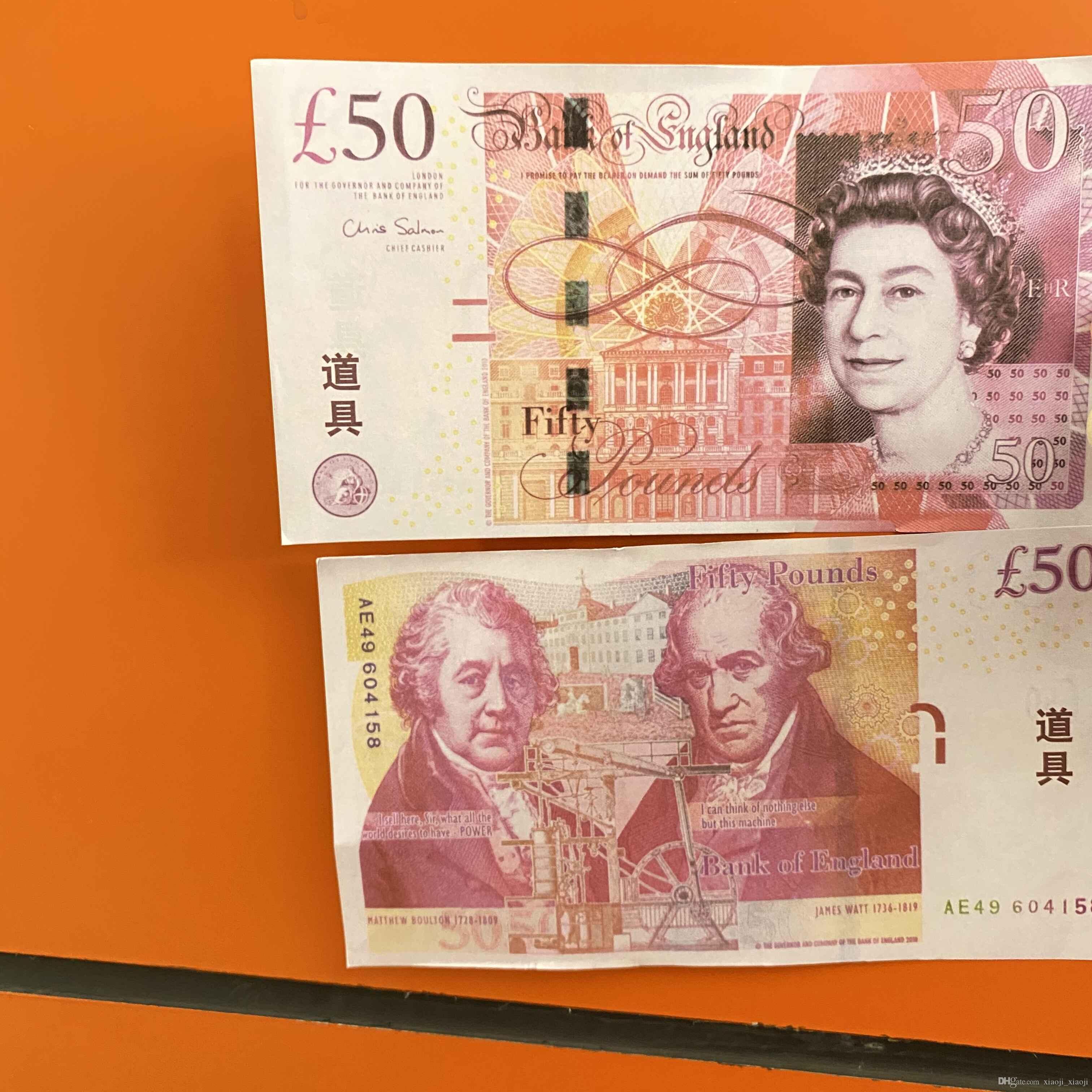 Copiar dinheiro PROP DESPARIÇO DINHEIRO DINHEIRO PROP PROP UK Banknote Libra Papel Vendas 100 pcs / Pack Lhklh