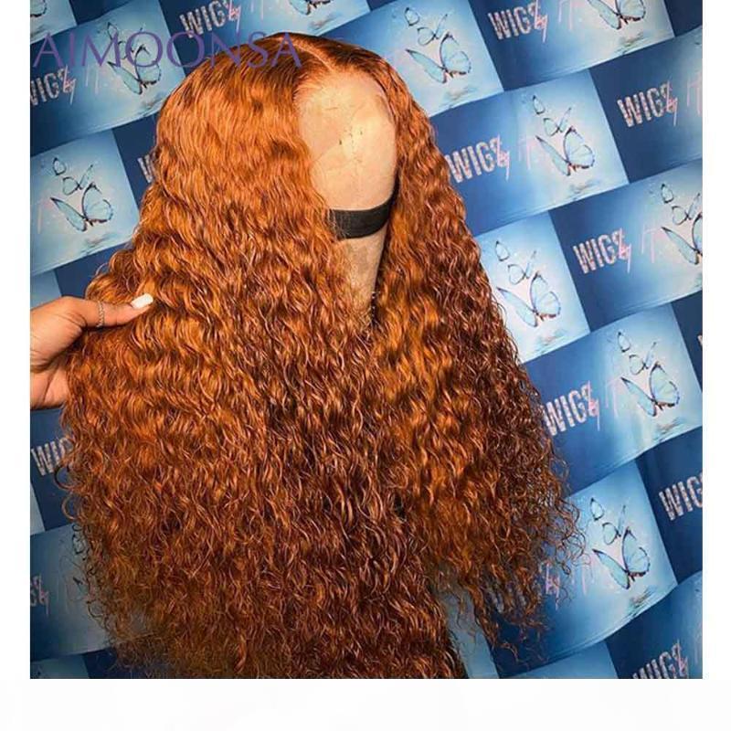 Ingwer Lace Front Perücke Orange Menschliches Haar Perücke Lockig 360 Spitze Frontal Glueless Full Perücken Menschliche Haarperücken Remy 150%