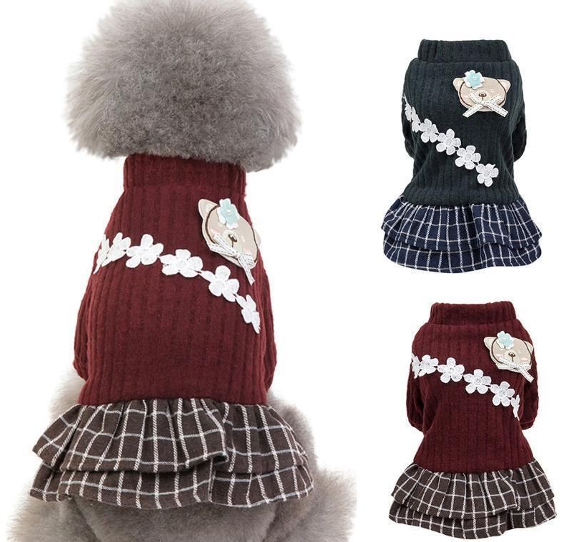 New Fashion Pet Elegant Skirt Autumn And Winter Keep Warm Cat Dog Clothing Plaid Skirt Cat An jllLNt dh_niceshop