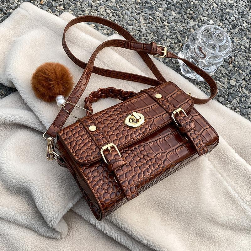 Bolsa de diseño Mujere New Niche Fall / Winter Fashion Fashion Width Bag CroCodile Western Wild Retro Square Messenger 20cm MGWJD
