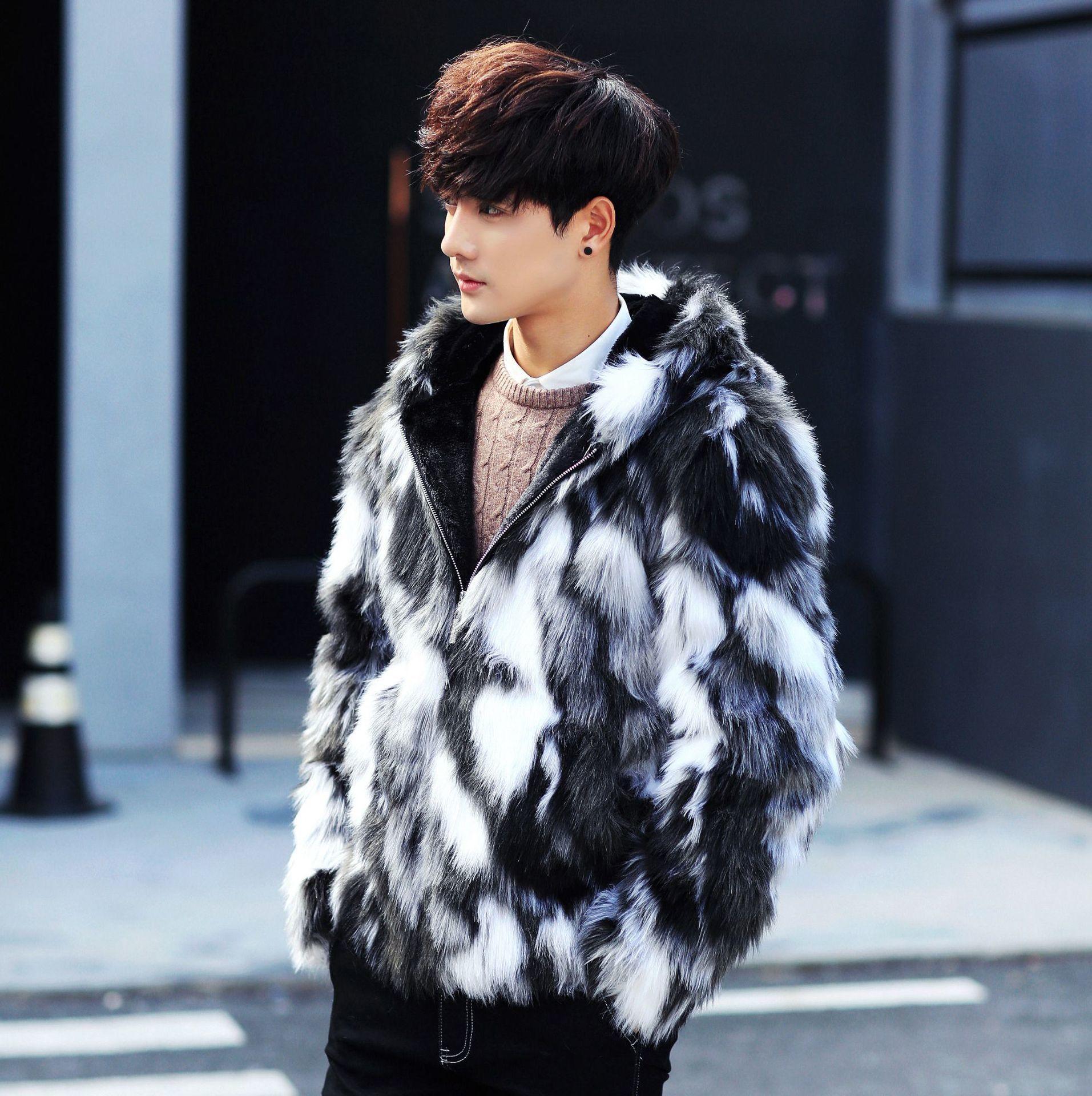 2021 Новый черный белый избил цвет горячий мода зимние мужские пальто модные мужские шубы с паркой капюшон для кожи Parka KGSG