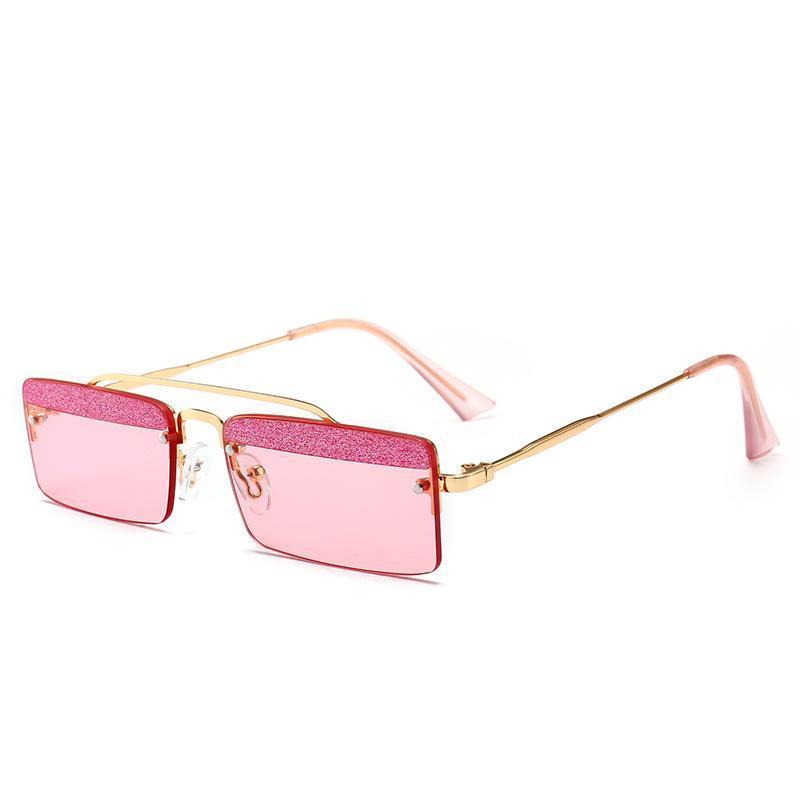Trending Glitter Augenbraue Frauen Kleine Quadrat Randlose Sonnenbrille Mode Männer Klares Grün Rosa Purpurrote Gläser UV400 NX