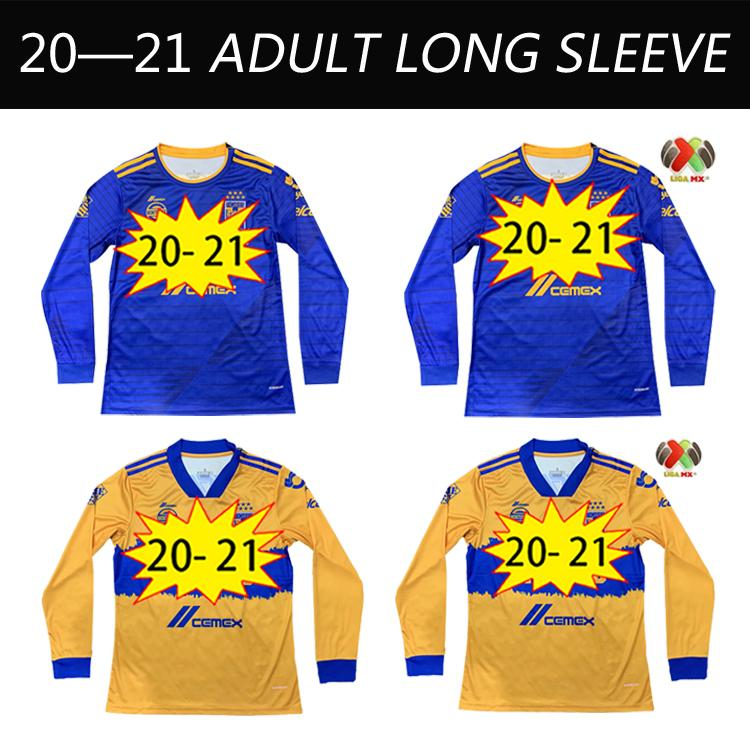 2021 México Liga 7 Estrela Tigres Uanl Santos Laguna Valdes Mens Futebol Jerseys Furch Camiseta de pé Camisas de futebol manga longa 20 21