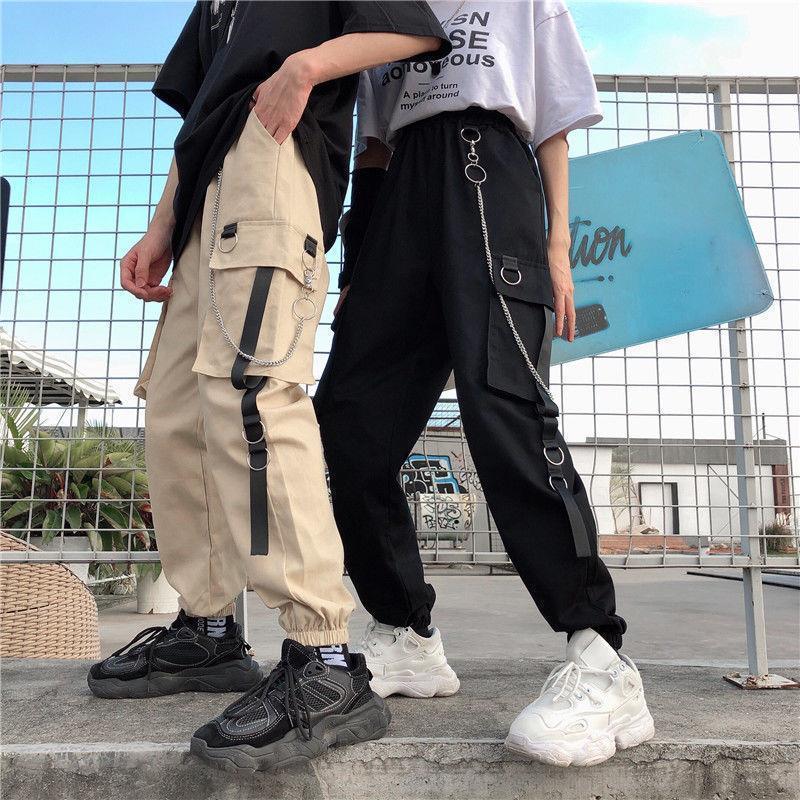 Pantalones de carga Mujeres Harajuku Pantalones Pantalones Cadena Bolsillos Joggers Mujeres Pantalones High Elastic Cintura Hip-Hop Safari Estilo Femenino Harem Pantalones