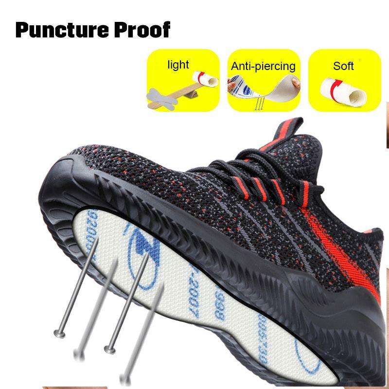 Punción indestructible de acero a prueba de Punta de Seguridad zapatos de trabajo Botas de protección transpirable contra Smasing acero Midplate con estilo