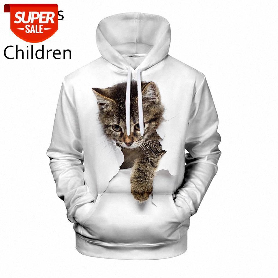 Casual personnalisé 3D chat populaire 3D hommes femmes sweat-shirt blanc enfants automne et hiver mode nouveau sweato-hoode animal dessin animé pull # ok2t