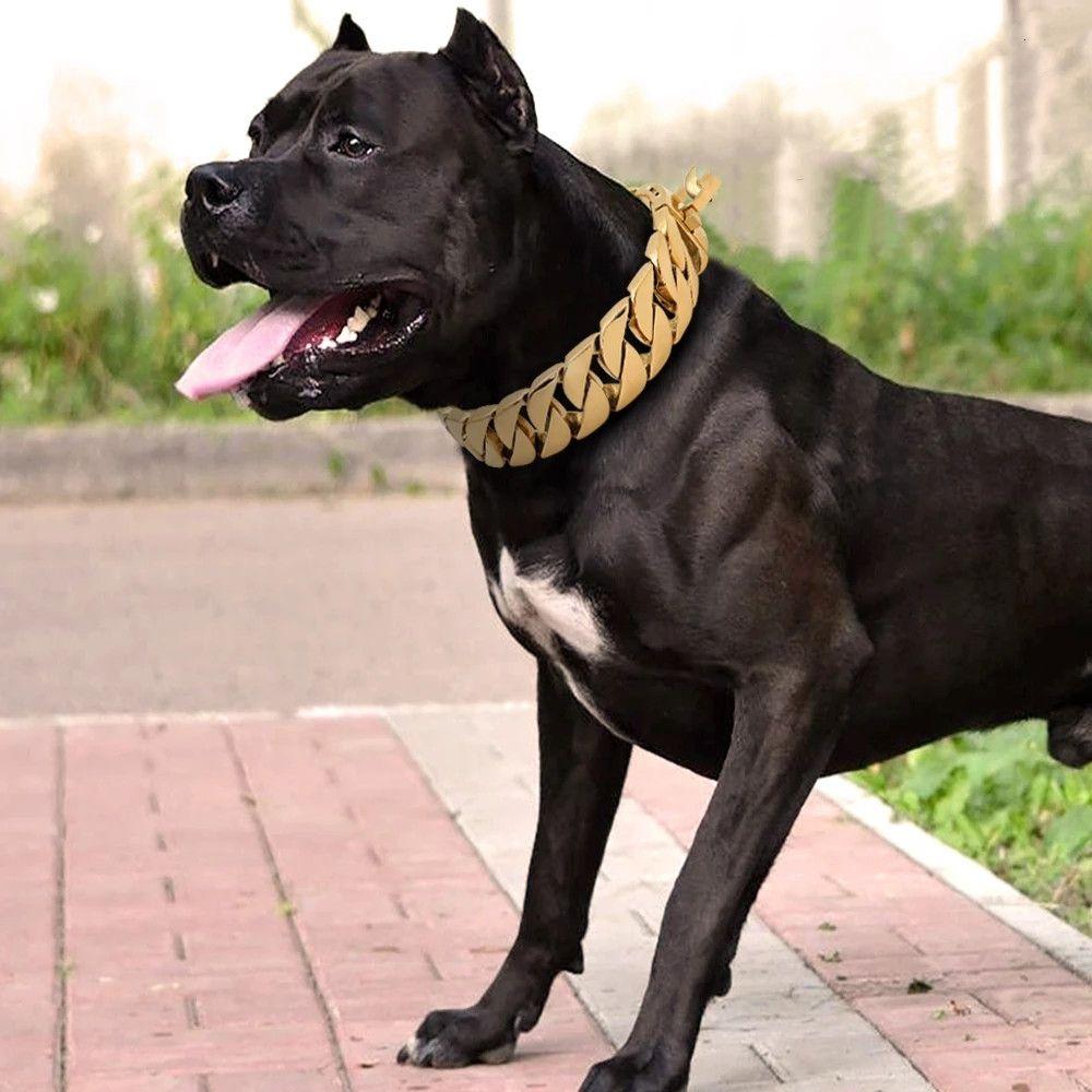 30mm Güçlü Metal Köpek Zincir Yaka Paslanmaz Çelik Pet Eğitim Boğazı Yaka Büyük Köpekler Pitbull Bulldog Gümüş Gold Gösterisi Yaka
