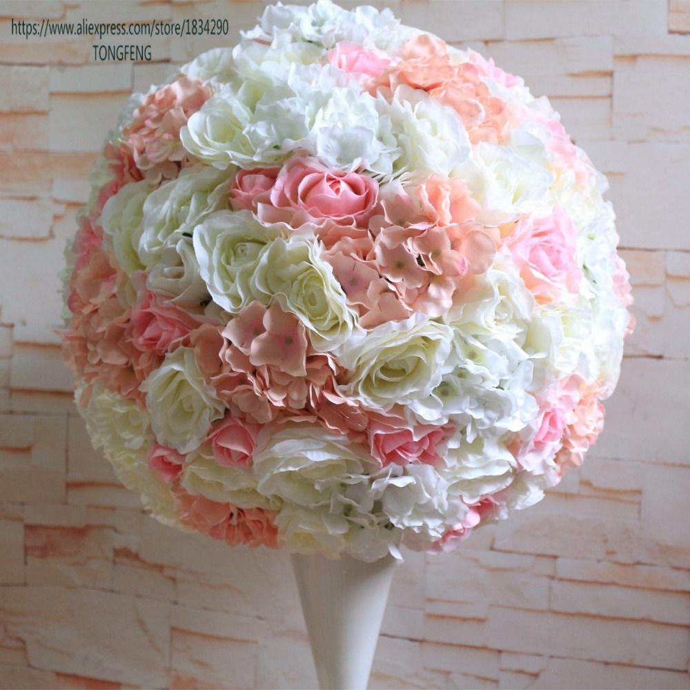 50cm düğün dekorasyon yapay ipek 2/3 yuvarlak masa merkezinde çiçek topları Tongfeng runner gül
