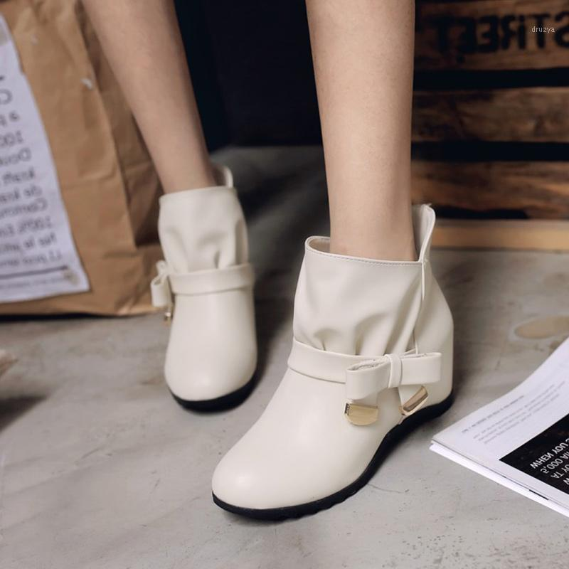 Women Short Plush Ankle Boots Winter Woman Height Increasing Ladies Mid Heels Women's PU Leather Shoes Female Footwear Plus Size1