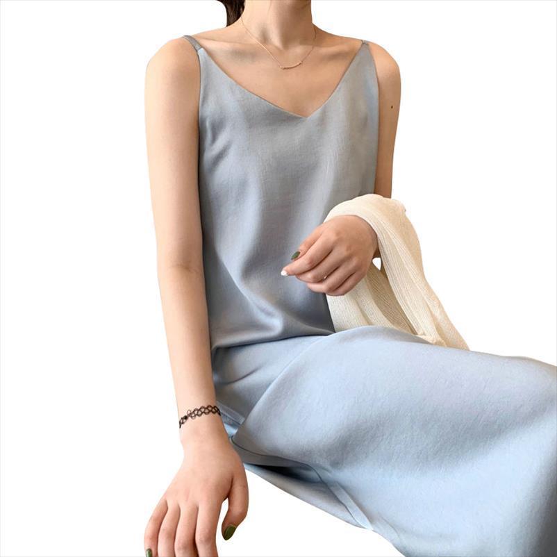 Femmes Couleur Solid Midi Robe Sangle Ajuster sans manches 2020 Coréenne Fashion Lady Robes élégantes Vestido ASF03