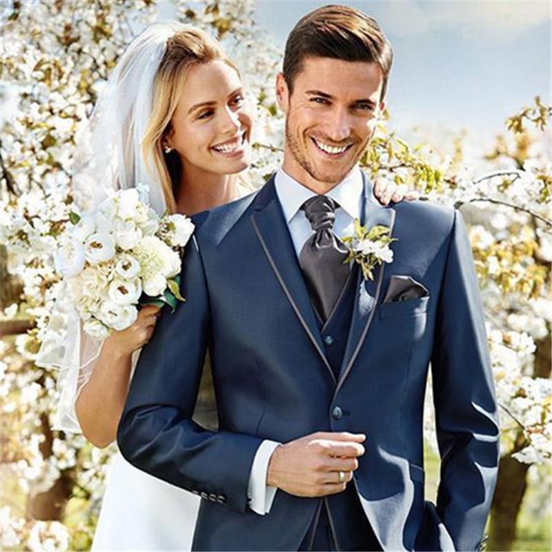 Erkekler Takım Elbise Blazers Erkekler için Parlak Mavi Zarif Düğün Suit 3 Adet (Ceket + Pantolon + Yelek + Kravat) Özel Resmi Smokin Terno Masculino Blazer
