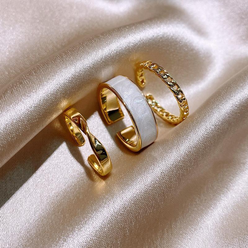 3 pz / set anelli geometrici Bohemian Set set vintage catena d'oro anelli di apertura dell'indice anello di dito per accessori per gioielli da donna