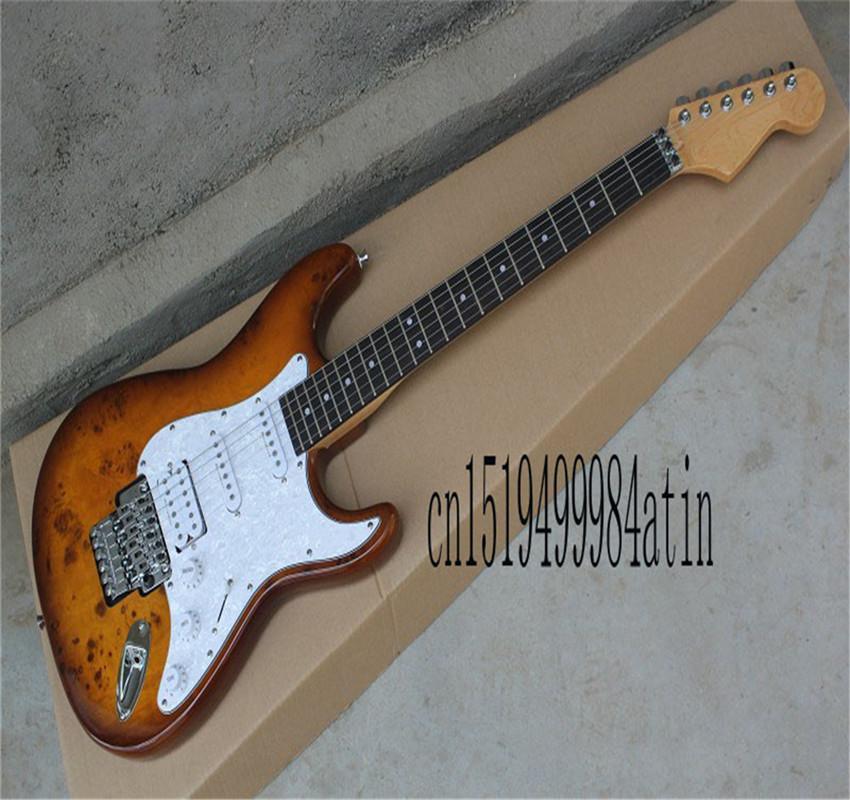 Toptan özel vücut krom tremolo floyd gül elektro gitar