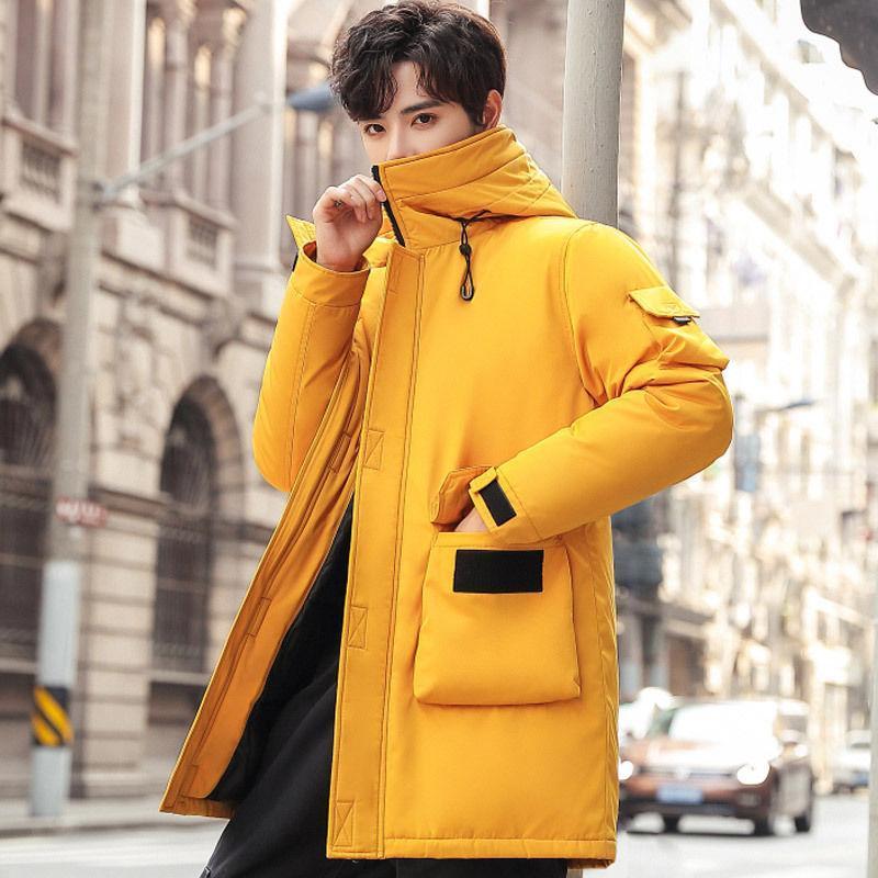 2021 Новые зимние мужские пальто капюшон сплошной колористной парки парку утолщенные теплые с капюшоном Slim Fit School Wearwear пальто черный желтый