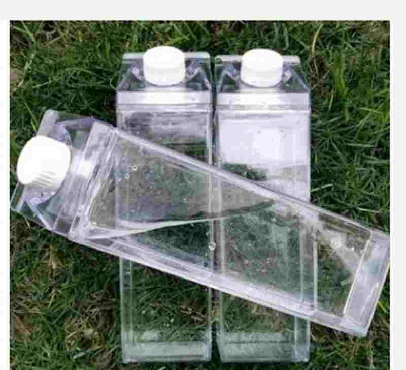 500ml Transparent Square Water Cup Plastic Milk Carton Bottles Coffee Drink Portable Student Mugs Personality New Arrival 5 8js F2