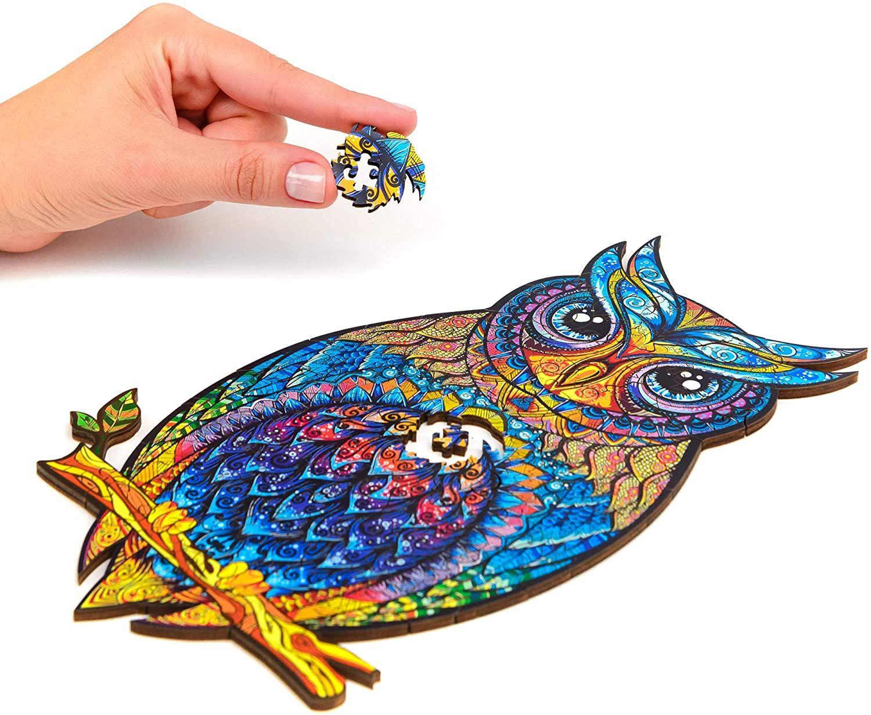 Деревянные головоломки-уникальные пазлы-уникальные формы головоломки лучший подарок для взрослых и детей очаровательная головоломка совы 21cmx 29,7 см - м