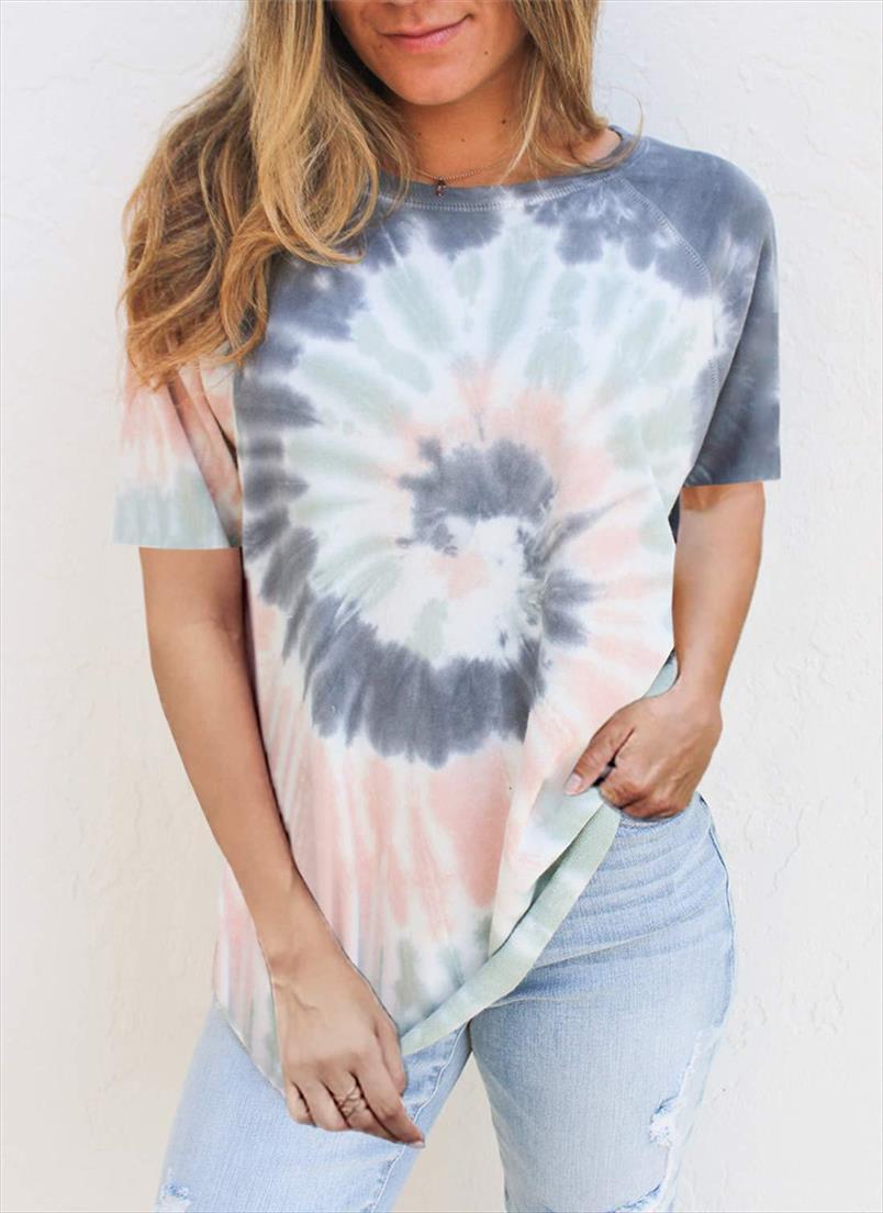 2020 Sommer Frauen T-shirt Krawatte Farbstoff Paisley Top T-Stück Weibliche Kleidung Casual o Neck T-Shirts Damen Tops Kurzarm T-shirts Frauen