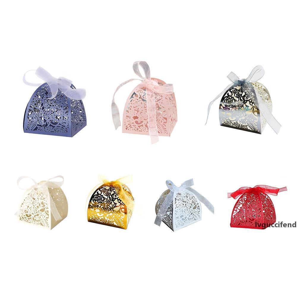 50pcs / серия Лепестки цветка лазера Hollow конфеты коробка свадебные сахара Сладкие коробки Элегантные Подарочная коробка Свадьба рождественские товары