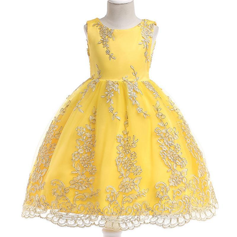 Flor niña bordado amarillo sin mangas princesa vestido niños fiesta boda boda bola vestido ropa vestidos 3-10 bw117