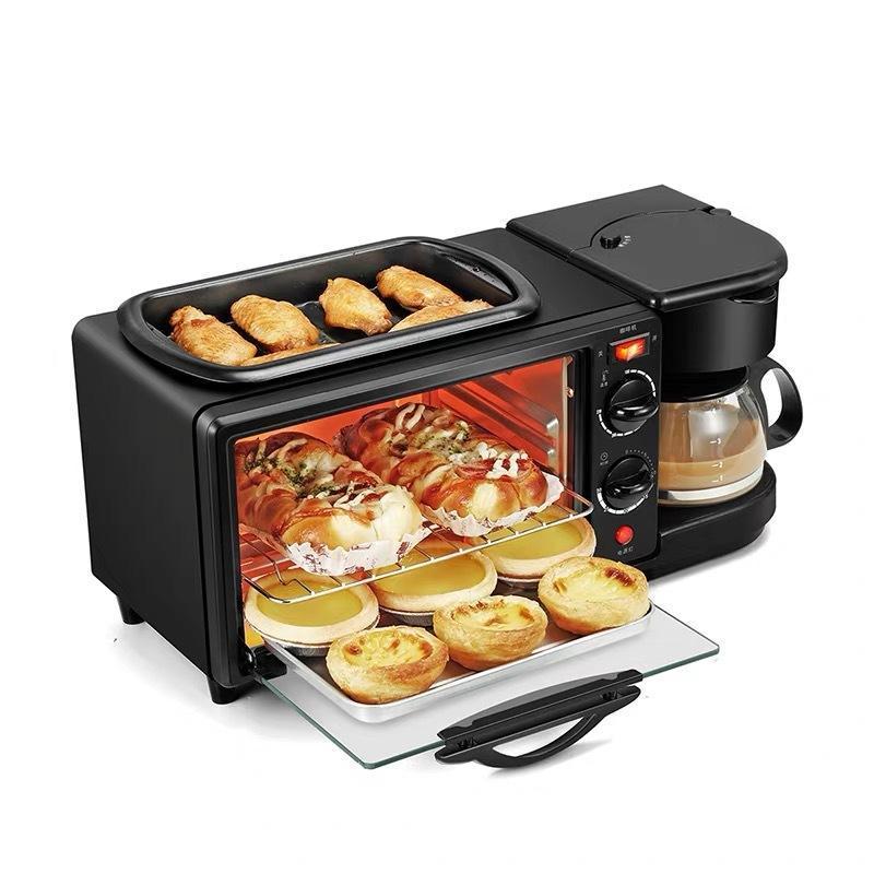 3-in-1-Frühstückshersteller Bratpfanne 600W + Ofen 600W + Tropfkaffeemaschine 450W Multifunktionsbrotmaschine