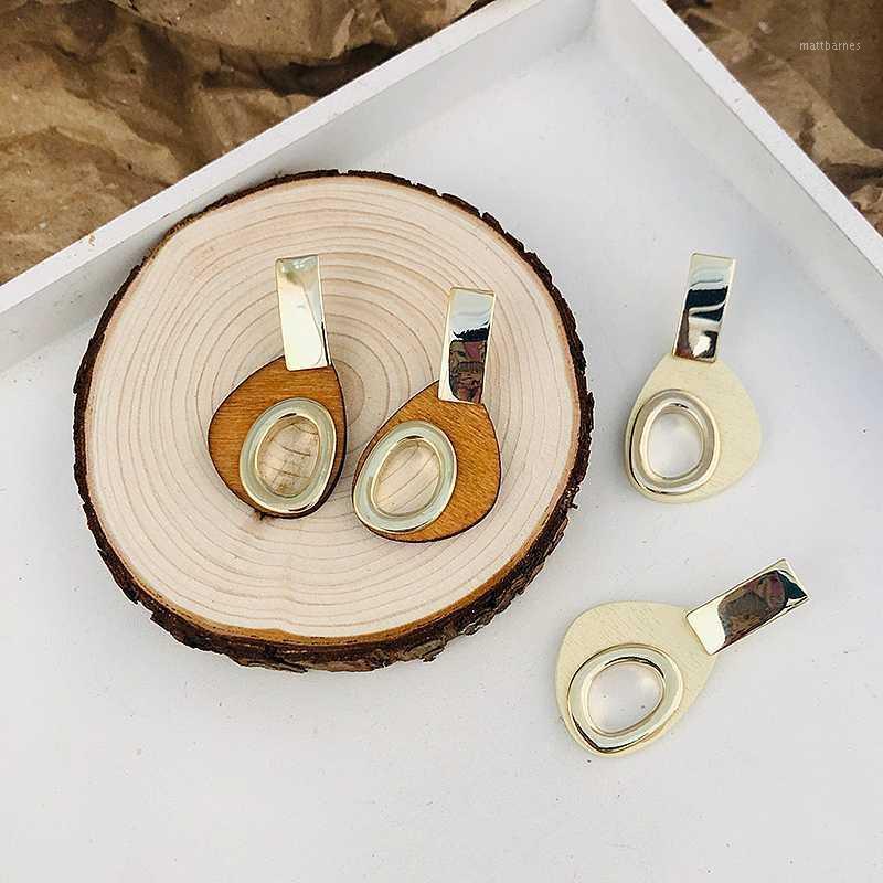 Люстра свисая люстра Ансуа Корейский ручной работы полые деревянные падения серьги для женщин Винтаж нерегулярное геометрическое заявление 2021 мода ювелирные изделия1