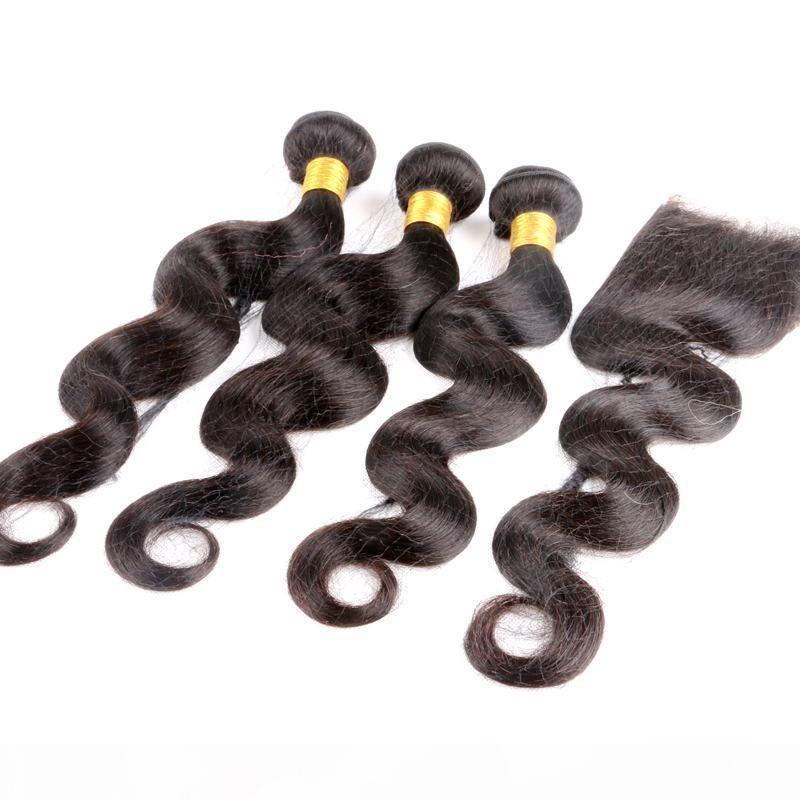 8-40inch vierge brésilien Bundles avec fermeture de dentelle 4x4 Fermeture droite Corps de profondeur Sans tourisée Remy Remy Human Hair Weave Extensions