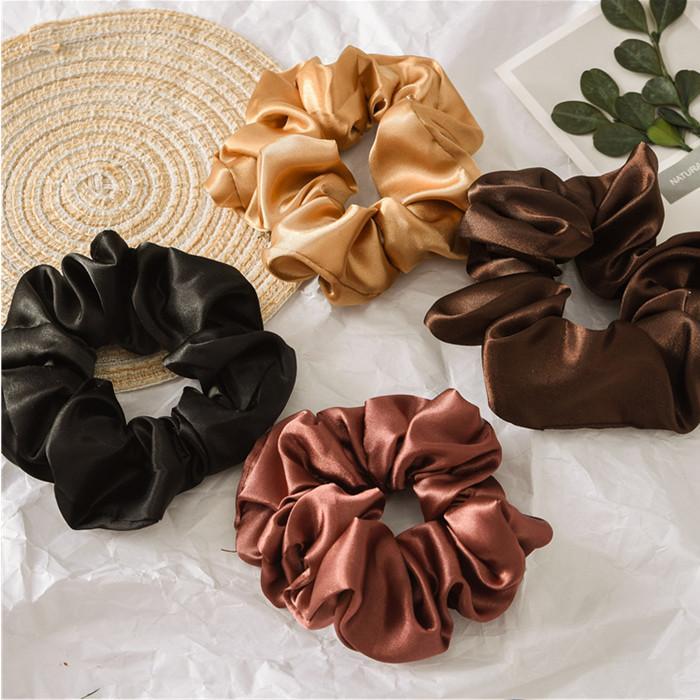 Satin Silk Solid Color Scrunchies Elastic Hair Bands Women Girls Hair Accessories Ponytail Holder Hair Ties Rope YHM954