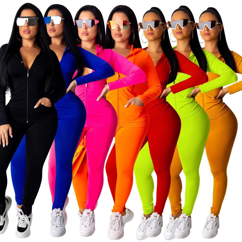 Womens Tracksuit Mulheres Designers Roupas 2020 Rosa Sportswear Manga Longa Calças de Jaqueta De Reboca Peças De Roubo Com Capuz Legging Ports Set