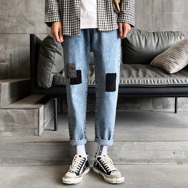 Jeans rectos de verano Moda para hombre Lavado Casual Retro Patch Jeans Men Streetwear Wild Foot Hip Hop Denim Pantalones MENS1