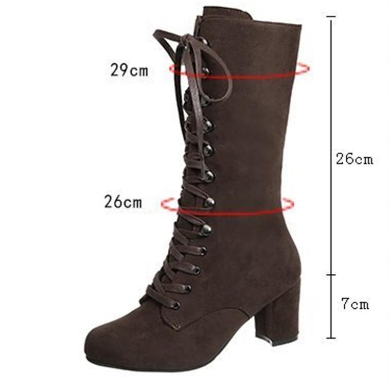 2021 Yeni Sonbahar Kış kadın Vintage Dantel-up Orta Ayak Yuvarlak Moda Rahat Tarzı Yüksek Topuklu Ayakkabı Diz Yüksek Çizmeler 4588