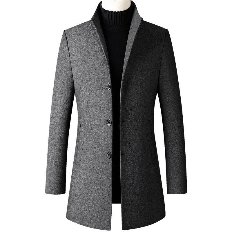2020 Nuovi Designer Cappotto di lana Men Uomo Spessa Stand Colletto Cappotto Maschile Moda Miscela in lana Blend Outwear Giacca Smart Casual Trench Plus Size UnCoat