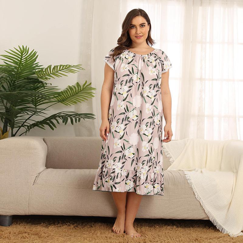 D1246 Große Größe Frauen Home Kleid Sommer Rock Fettleibige Weibliche Lose XL 2XL 3XL 4XL Nachtwäsche Schlaf Tragen Set Nachtlegungen