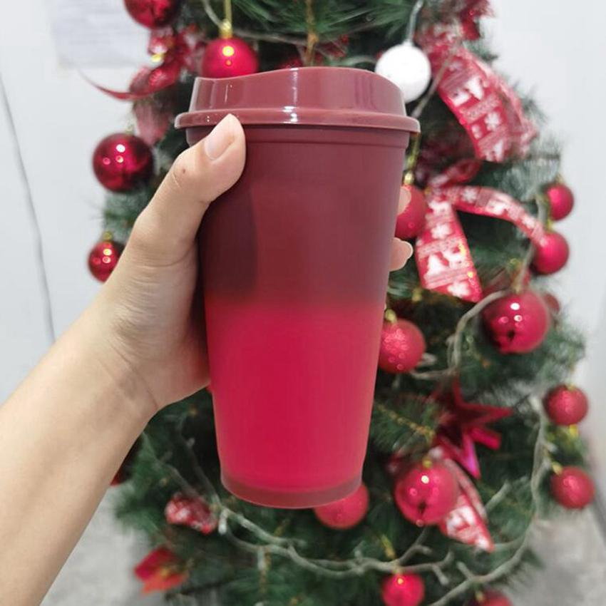 16 oz Renk Değiştirme Bardak Sıcak Su Sihirli Plastik Kullanımlık Kapaklı Bira Kupalar Kahve Bardakları Ile Kumbalar Cyz2926 50 adet