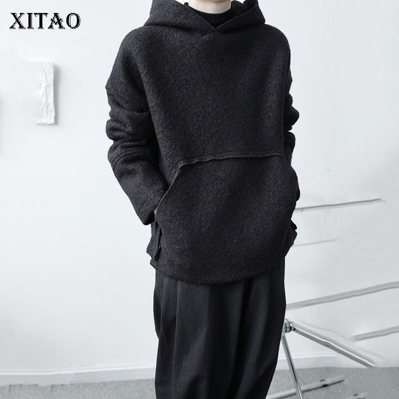 Xitao estilo coreano suéter de la tendencia suelta con capucha de moda negra mujer salvaje plus talla personalidad superior reno invierno dzl2087