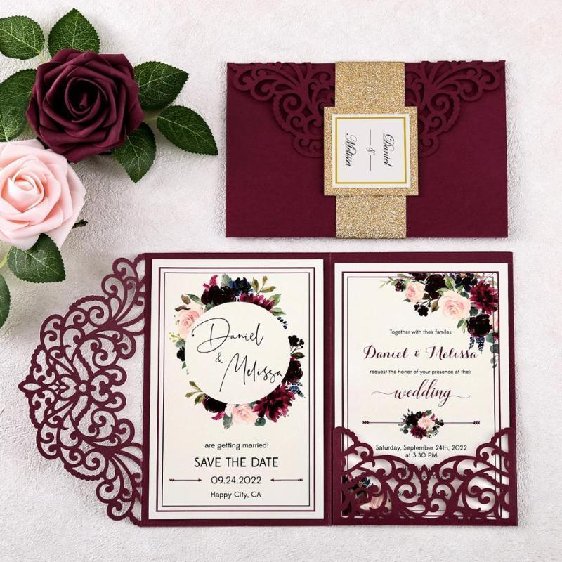 100pcs 새로운 도착 Burgundy 결혼식 초대장 웨딩 1에 대 한 성 Patten와 레이저 컷 초대 포켓