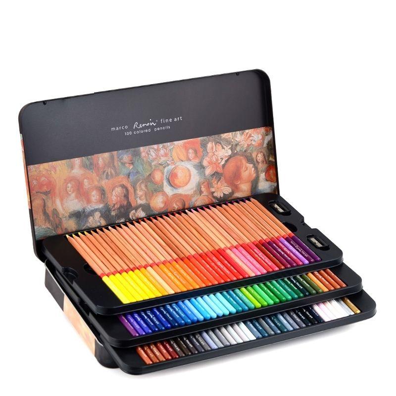 Marco Renoir 3100 Óleo de cor de cor desenho desenho esboços lápis 24/36/48/72/100/120 cor arte pintura lápis escola material y200428