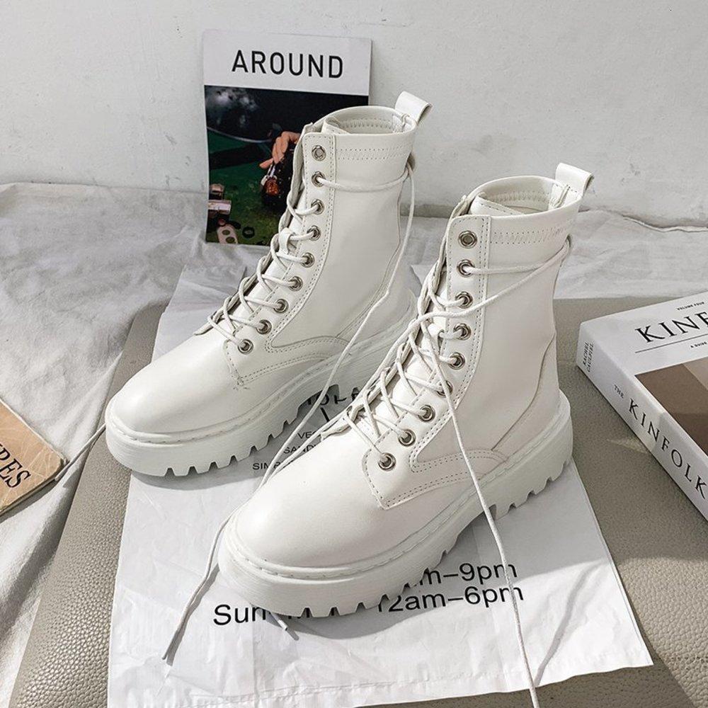 2020 боевые женщины белый кожаный мотоцикл середины на каблуках готические ботинки мода черные ботильоны