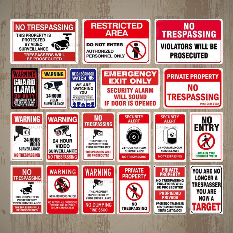 2021 Vintage NO TRESPASSING Signes métalliques Signes d'affiche Plaques d'affiche Signe AVERTISSEMENT AVERTISSEMENT FALLOUT PLAQUE PLAQUE PLAQUE Panneau Ferme Décoration murale 20x30cm