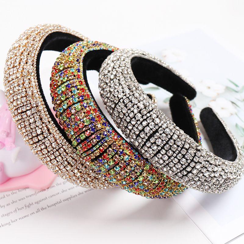 Rainbow Rhinestone мягкие повязки для женщин Девушки роскоши толстые полные алмазные губки для волос женщин кристалл аксессуары для волос CX200714