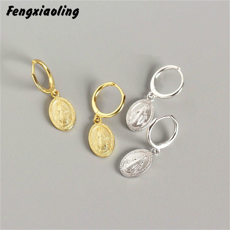 Fengxioling 100% echte 925 Sterling Silber Goldene Silber Münze Geschnitzte Porträt Tropfen Ohrringe Schmuck Ohrringe für Frauen