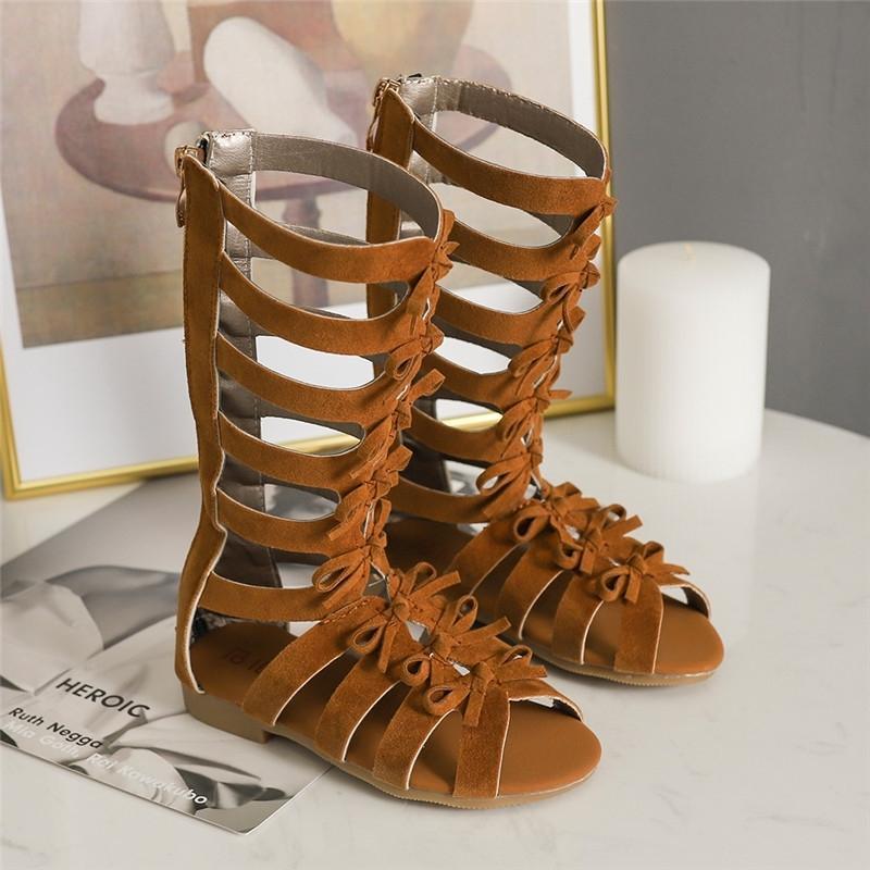 Бекамиллельные девушки сандалии летние детские туфли мода лук Рим высокие трубки сандалии дети девушки принцесса Zip плоская с обуви SZ038 T200515