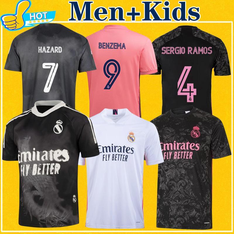 ريال مدريد لكرة القدم الفانيلة 2021 خطر سيرجيو راموس بنزيما asensio valverde casemiro 20 21 قميص كرة القدم الرجال + أطفال عدة