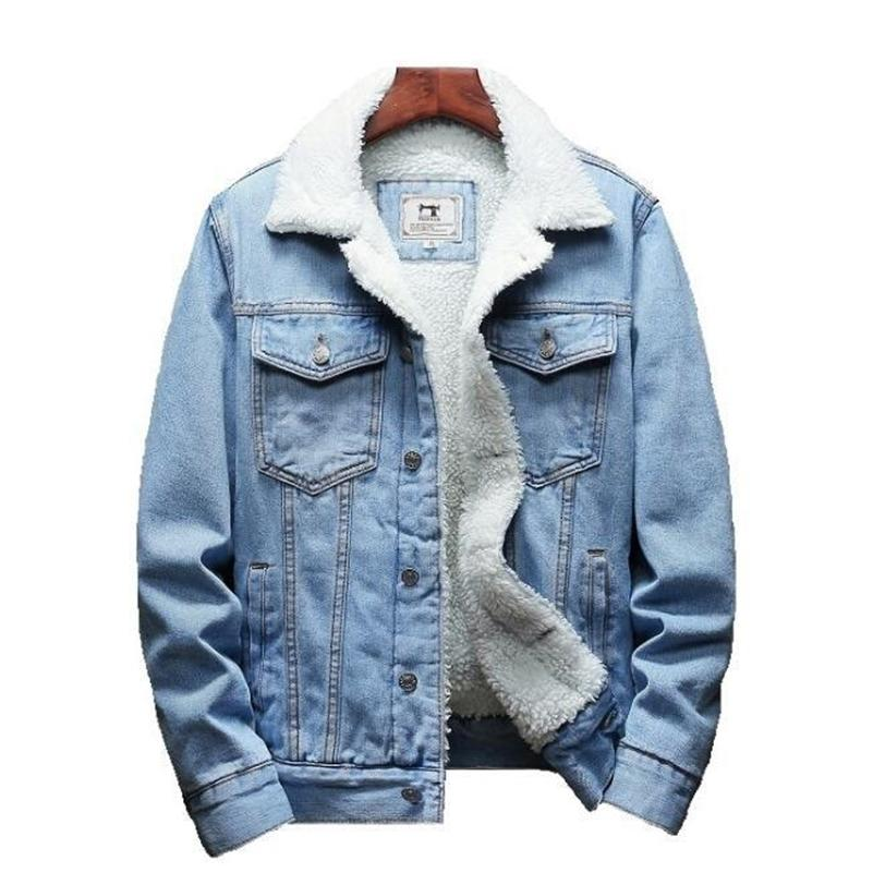 Зимняя мужская куртка и пальто теплый флис джинсовая куртка мода мужские джинсы куртки для мытья мужской ковбой плюс размер 6xL 201022