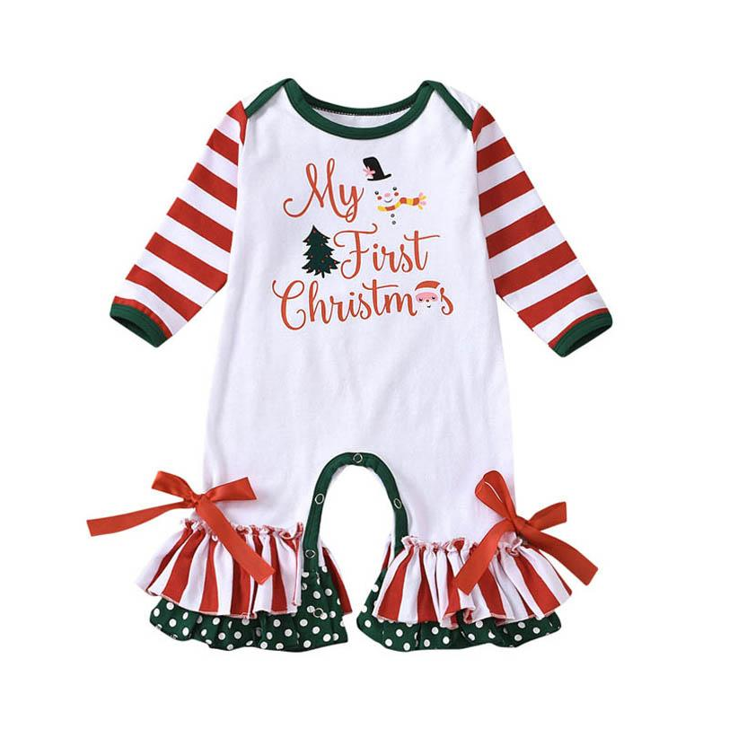 2020 Новый Рождественский Детский Ромпер Симпатичные точки Новорожденные Rompers Хлопок Длинный Рукав Детский Комбинезон Детская Девушка Одежда Девушки Ромпер B3224