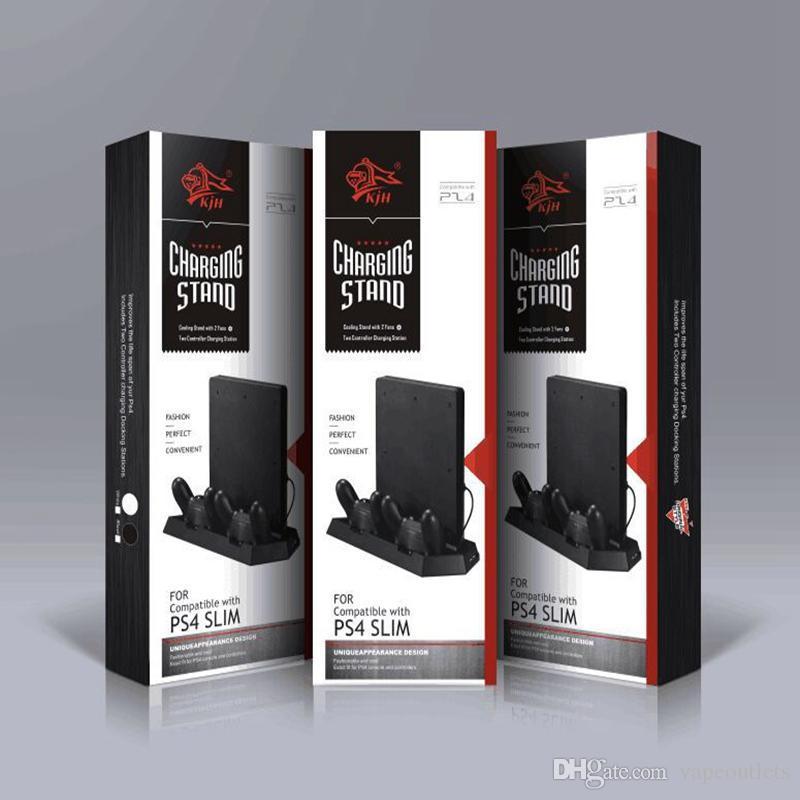 Stand vertical para ps4 magro com estação de carregamento do controlador de refrigeração com carregador duplo para Sony Playstation 4 Slim Jogo Console