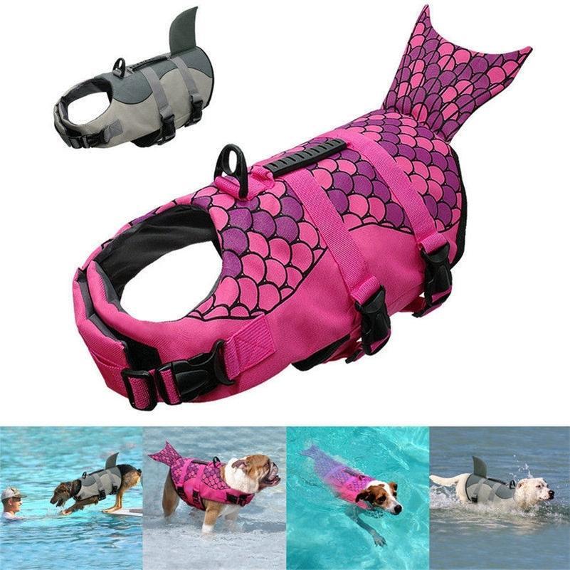 حورية البحر زي القرش سترات الحياة الصغيرة الكلب كبير الصيف الكلب سترة سترة سترة ملابس السباحة العاكس ملابس السباحة سترة LJ200923