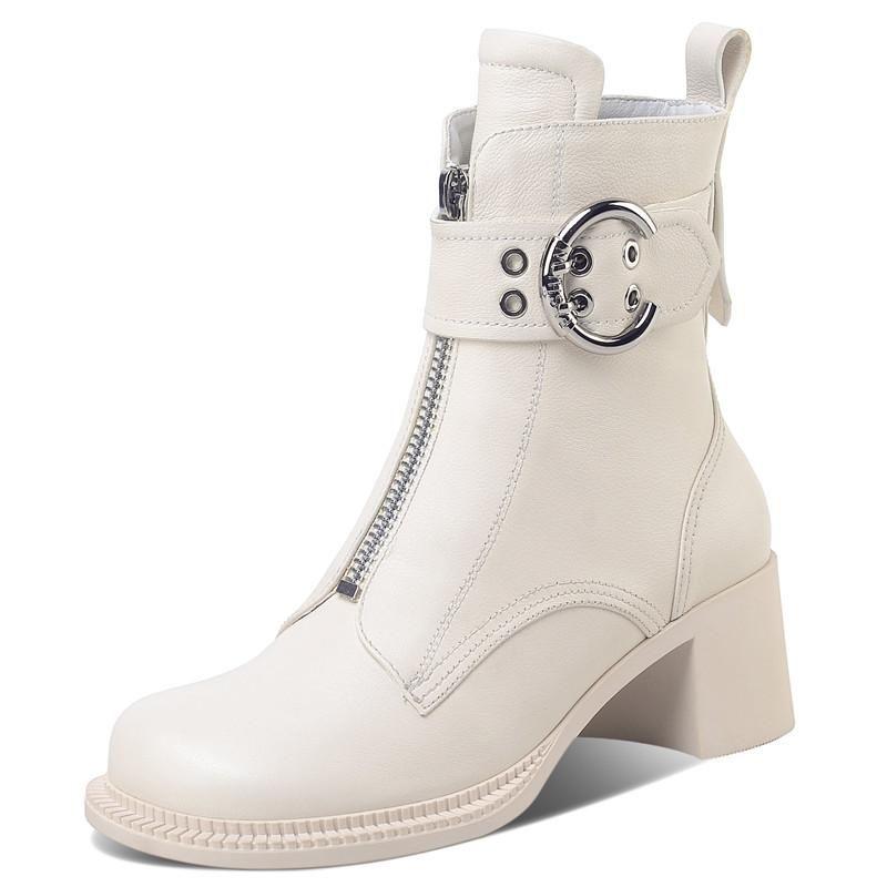 Motocicleta Shoes grossas Inferior Salto Alto Toe Praça Ankle Boots Zip Botas Designer Couro Lace up Buckle-se Strap Mulheres