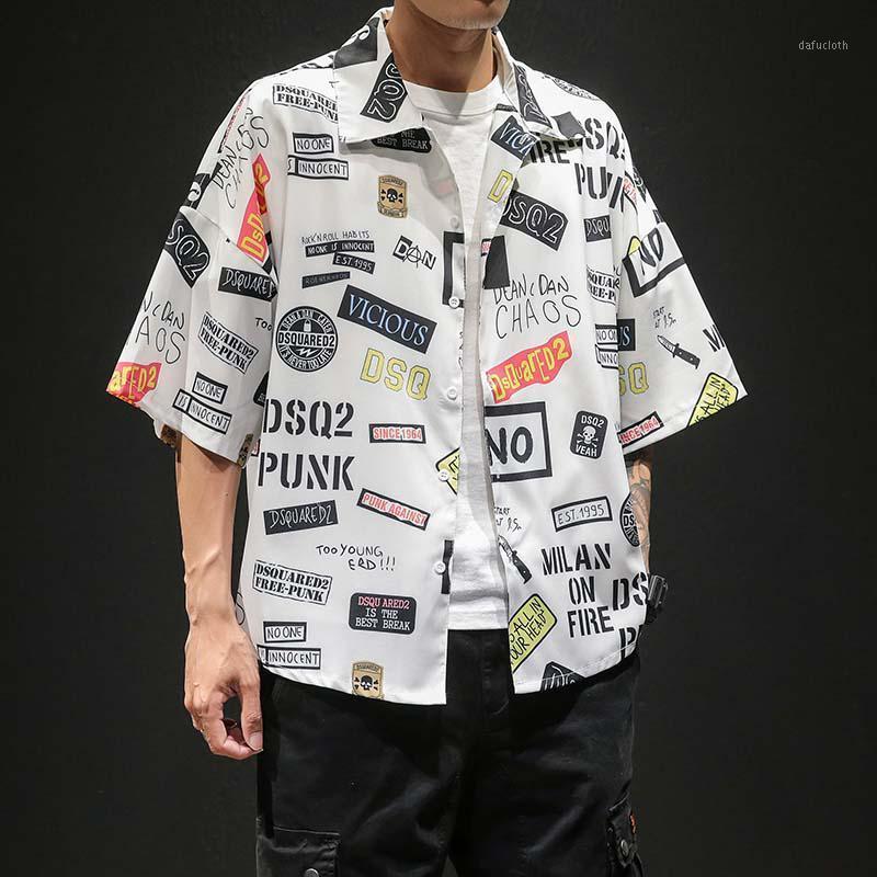 Estilo de verão japonês tamanho grande legal dois cor tendência homens manga curta floral camisas soltas homens camisas1